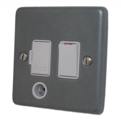 G&H CP56W Standard Plate Pewter 1 Gang Fused Spur 13A Switched & Flex Outlet